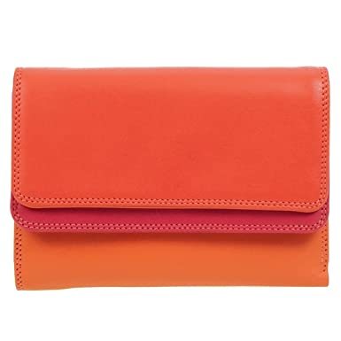 Mywalit Purse Wallet 13cm Double Flap Genuine Leather with Mywalit Silver  Tone Pen Included Style 250