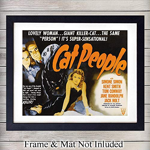 (Cat People Vintage Movie Poster - 8x10 Unframed Photo Wall Art Print - Perfect Gift For Movie Lovers - Chic Home Decor )