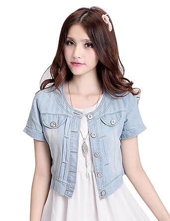 6160cd83d9 IDEALSANXUN Womens Thin Denim Shrug Cardigan Short Jackets at Amazon ...