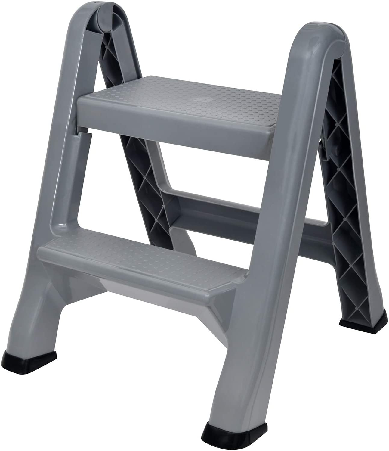 Spigo 2-Tier Step Stool Ladder, Durable Construction, Compact and Lightweight, Perfect Your Home or Workplace, Rust Resistant, One-Handed Operation, 22.5×20.5×19 Inches Gray