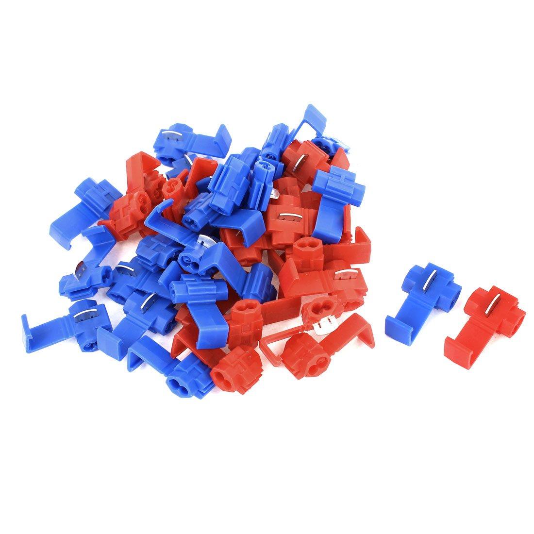 40 pcs 2,5 mm2 Auto rot blau Splitter Button Clip Draht ...