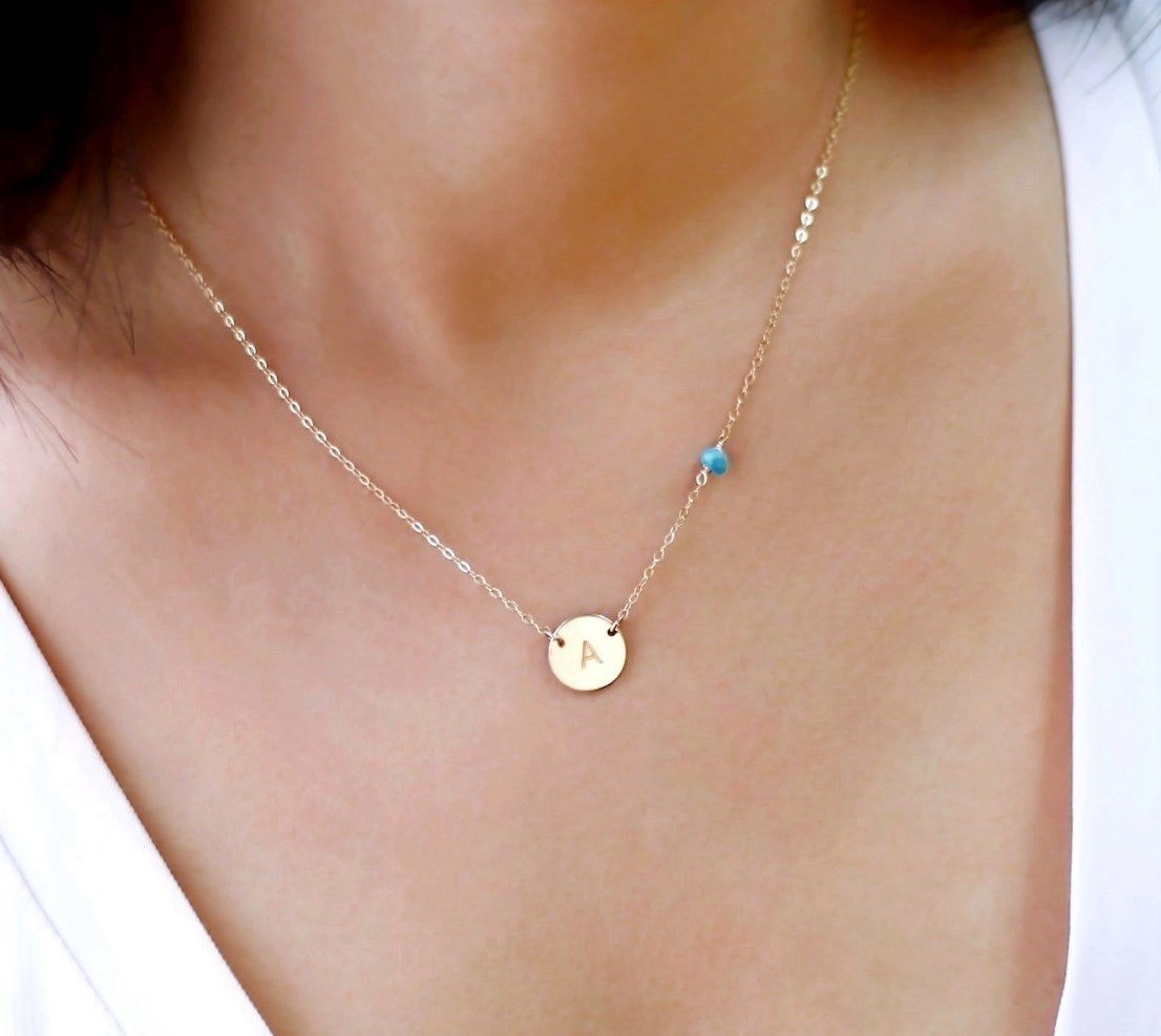 Amazon circle initial charm necklace and small gemstone bead amazon circle initial charm necklace and small gemstone bead personalized disc necklace turquoise birthstone jewelry 14k rose gold fill aloadofball