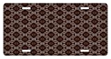 Lunarable Damask License Plate, Old Victorian Style Classical Swirled Ornament Floral Design Artwork Print, High Gloss Aluminum Novelty Plate, 5.88 L X 11.88 W Inches, Chestnut and Brown