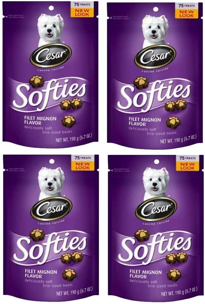 Cesar Softies Filet Mignon Flavor Dog Treats (Pack Of Four 6.7-Ounce Pouches)