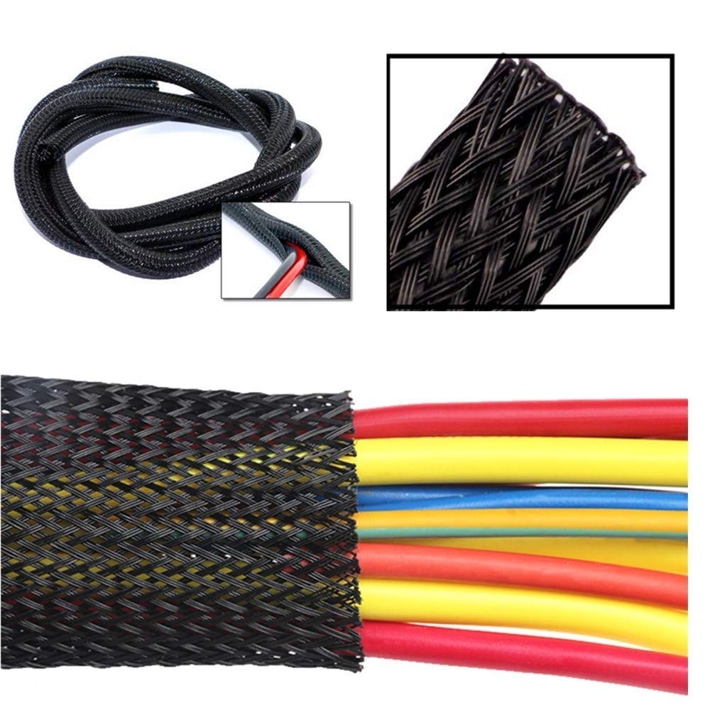 PC Black 3//8/_10ft Premium and Organizer Audio Protector for TV and Other Home or Office Device Cords Cable Sleeve Flexible PET Expandable Braided Wires Sleeving Management