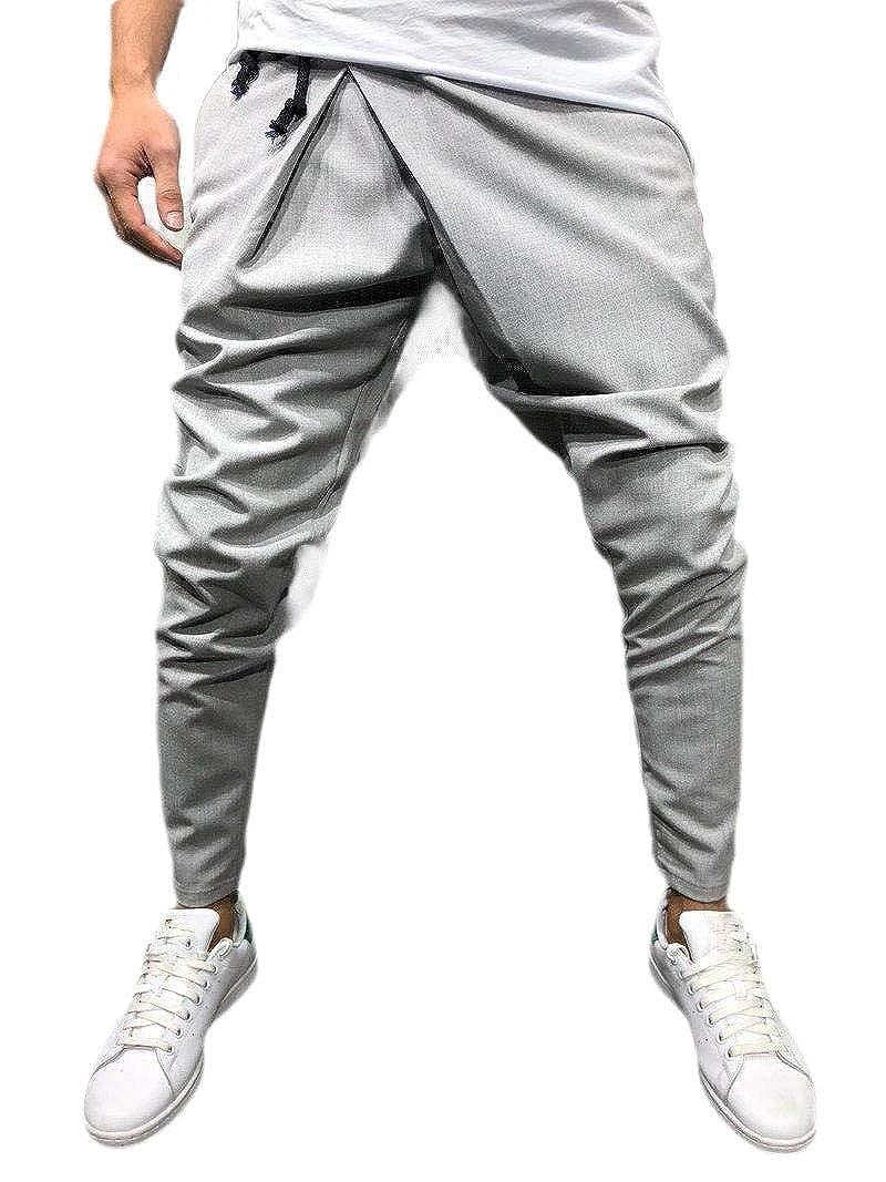 Fseason-Men Long Pants Stretch Pleated Casual Regular Fit Beach Trousers