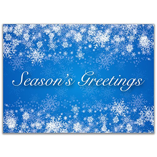 Holiday Christmas Cards with Seasons Greetings Text - Appropriate for Personal or Business Use - Box Set of 25 Cards Includes 26 Silver Foil Lined Envelopes - S01-01