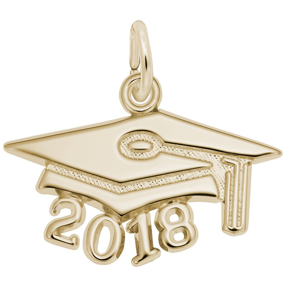 Rembrandt Charms, 2018 Graduation Cap, Large, 14k Yellow Gold, Engravable