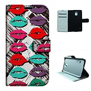 Galaxy S5 i9600 Case,SoloShow® Samsung Galaxy S5 i9600 Case High Quality PU Leather and Magnetic Wallet Flip Case with Built-in Card Holder and Stand Function (Sexy Lips& Kiss)