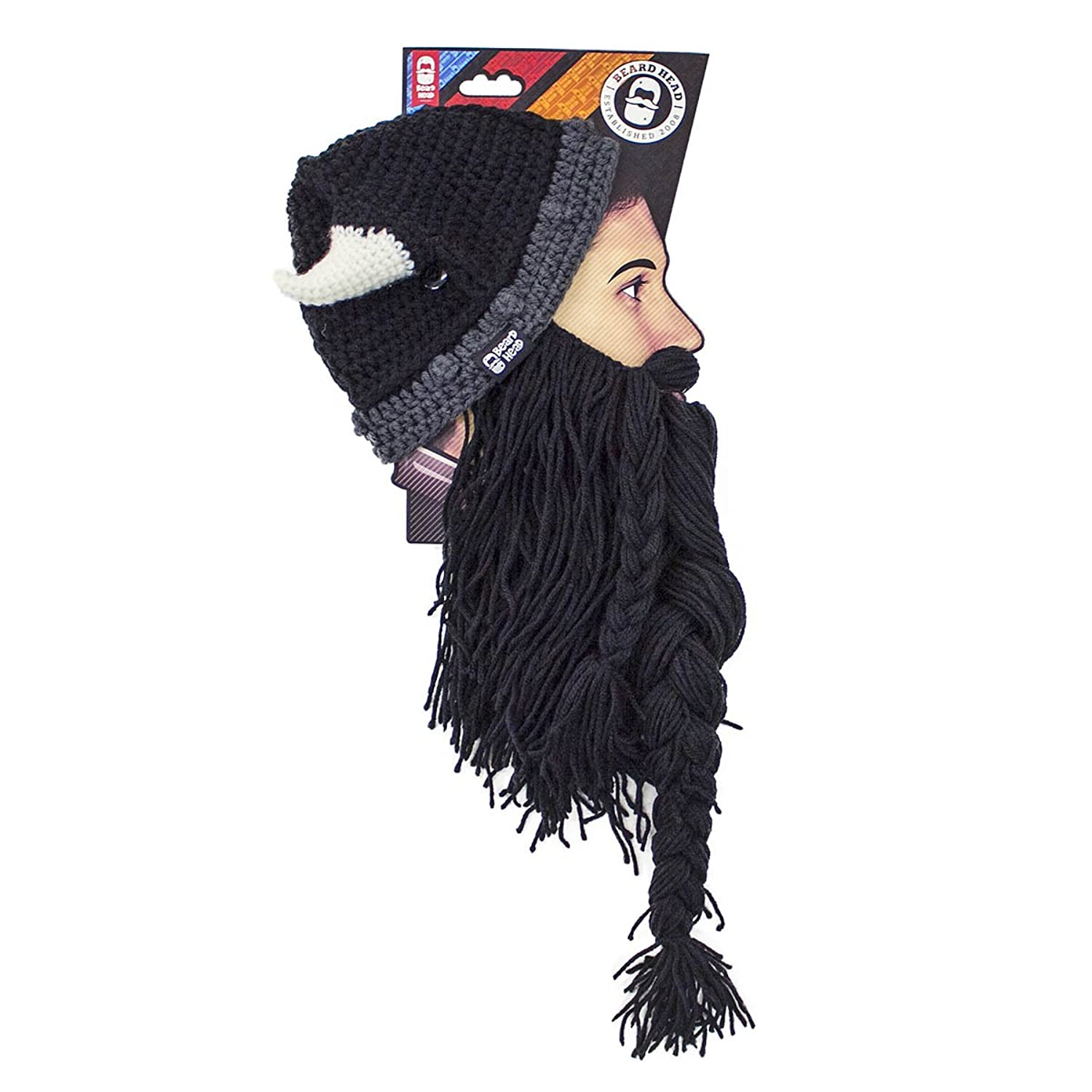 Beard Head The Original Barbarian Pillager Knit Beard Hat (Black) at ...