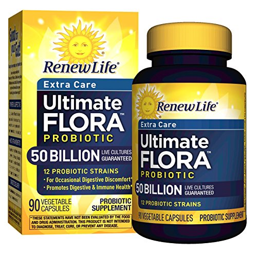 Renew Life – Ultimate Flora Probiotic Extra Care – 50 billion – daily digestive and immune health supplement – 90 vegetable capsules