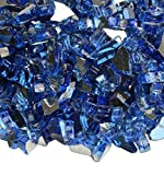 BBQ funland 1/4-Inch Reflective Fire Glass for Natural or Propane Fire Pit, Fireplace, 10-Pound, Cobalt Blue