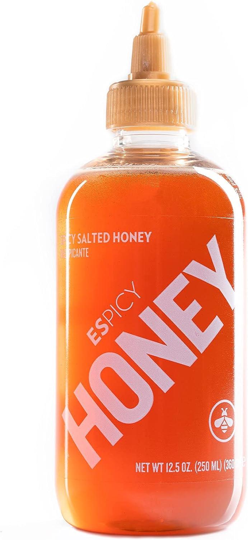 ESPICY - Honey 250 ml   Condimento de Miel con un Toque Picante   Picante y Dulce   Sin Aditivos ni Conservantes   Sin Gluten   Apto para Vegetarianos   Contiene Miel   Hecho en España
