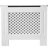 Tanburo Cache-radiateur Blanc Mat en MDF E1 Armoire Grill Style - Taille moyenne 112 x 19 x 81.5cm
