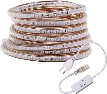 XUNATA 8m 220V Tiras LED con Interruptor, SMD 3014 120LEDs/m, IP67 Impermeable, Escalera de Techo Blancas Tira de LED Cocina Cable Luces LED Azul: Amazon.es: Iluminación