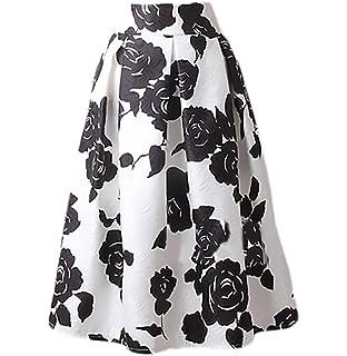 dc671288a888d4 Röcke Damen Sommer Elegant Rockabilly Rock Knielang Vintage Mode Classic  Kleidung Jacquard Blumen Drucken Midi Skater