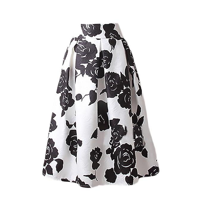 Faldas Mujer Elegantes Moda Estampado Flores Jacquard Falda ...
