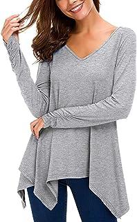 Tefuir Femmes Vetement Casual Lache Col en V Asymétrique T-Shirt Manches Longues Haut Tops Blouse a la Mode Pas Cher Tunique Chemise Slim Fit Bustier Printemps Grande Taille