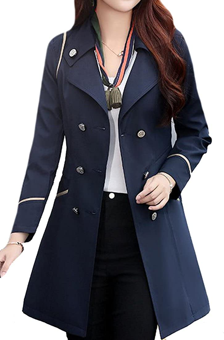 Pandapang Womens Double Breasted Slim Lapel Midi Trench Coat Jackets