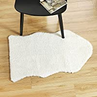 Uphome Faux Sheepskin Rug, Ivory White Soft Chair Cover Seat Pad Plain Area Rugs - Faux Fur Rug For Bedroom Sofa Floor (22''W x 34''L, Ivory White)
