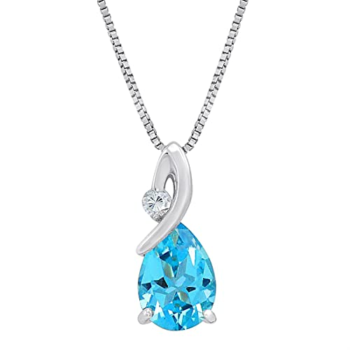 Amazon sterling silver 2ct tgw swiss blue and white topaz sterling silver 2ct tgw swiss blue and white topaz pendant necklace aloadofball Choice Image