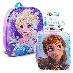 Disney Frozen Backpack and Lunch Box Bundle Set for Preschool Toddlers ~ Deluxe 12″ Frozen Mini Backpack and Lunch Bag with Reversible Sequins with Stickers (Frozen School Supplies)