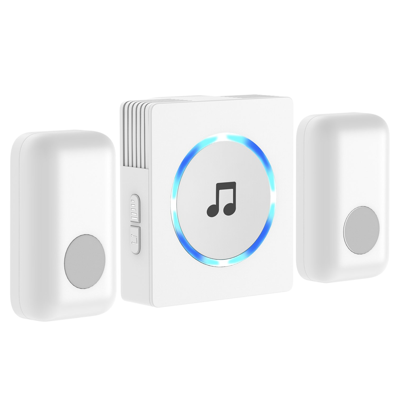 Chime, JETech 2-Push Bell Portable Wireless DoorBell Chime Plug-in Push Button (White) - 2120C