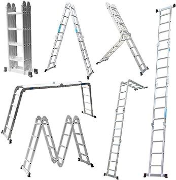 LARS360 6 en 1 Escalera de Tijera 4.7M Escalera Multifunción Plegable Escalera Articulada con Plataforma 4x4 Escalera de aluminio Escalera combinada de alta calidad, Cargable hasta 150 kg: Amazon.es: Bricolaje y herramientas