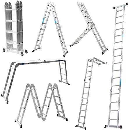 LARS360 6 en 1 Escalera de Tijera 4.7m Escalera Multifunción Plegable Escalera Articulada con Plataforma 4x4 Escalera de Aluminio Combinada Multifuncional, Cargable hasta 150KG: Amazon.es: Bricolaje y herramientas