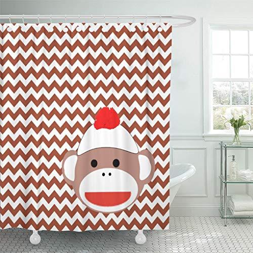 "Semtomn Shower Curtain 70S Sock Monkey Retro 1970S Products 72""x78"" Home Decor Waterproof Bath Bathroom Curtains Set with Hooks"