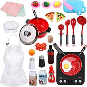 Anpro 32pcs Play Kitchen Toys Set- Toy Kitchen Sets Including Realistic Induction Cookware, Pots and Pans, Cutting Play Food and Other Play Kitchen Accessories, Gift Toys for Kids