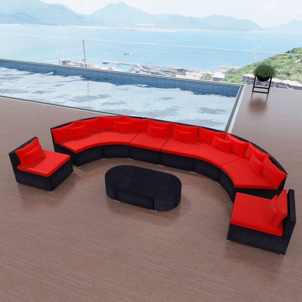 cangzhoushopping Gartensofa-Garnitur Poly Rattan Rot Möbel Gartenmöbel Gartenmöbelgarnituren
