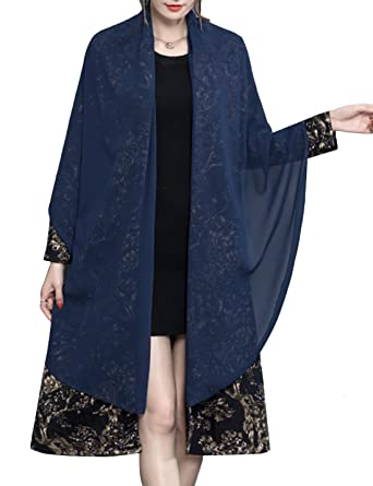 a1178073435 Tanming Womens Retro Mid Long Floral Wind Coat Overcoat with Sheer Shawl  Wrap (Blue,