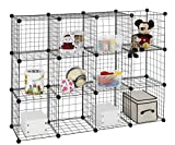 Finnhomy 12 Storage Cubes Multi Use DIY Wire Grid Organizer Closet Organizer Shelf Cabinet Wire Grids Panels Garage Storage Rack Sets Shelving Units for Books/Plants/Toys/Shoes/Clothes Black