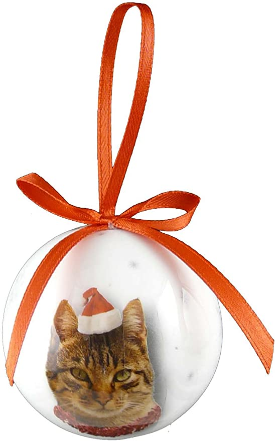 Bola para árbol de Navidad (5 cm), diseño de gato atigrado: Amazon ...