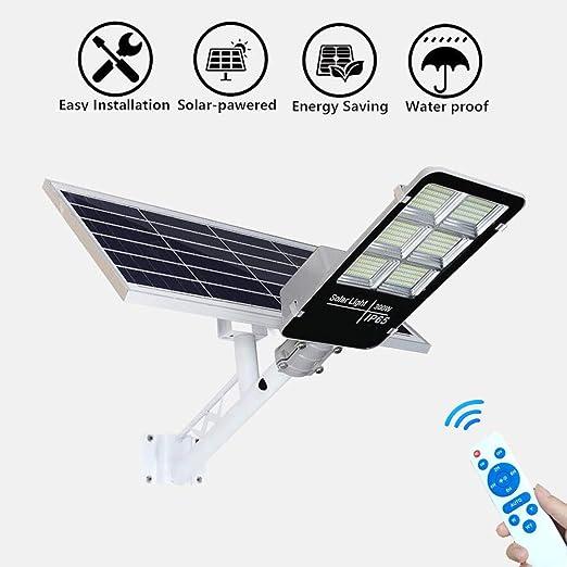 300W Farola LED Luces De Inundación Solar Farola Solar Exterior Potente Prueba De Agua Luces Seguridad para Exteriores Focos Solares Exterior con Mando: Amazon.es: Hogar