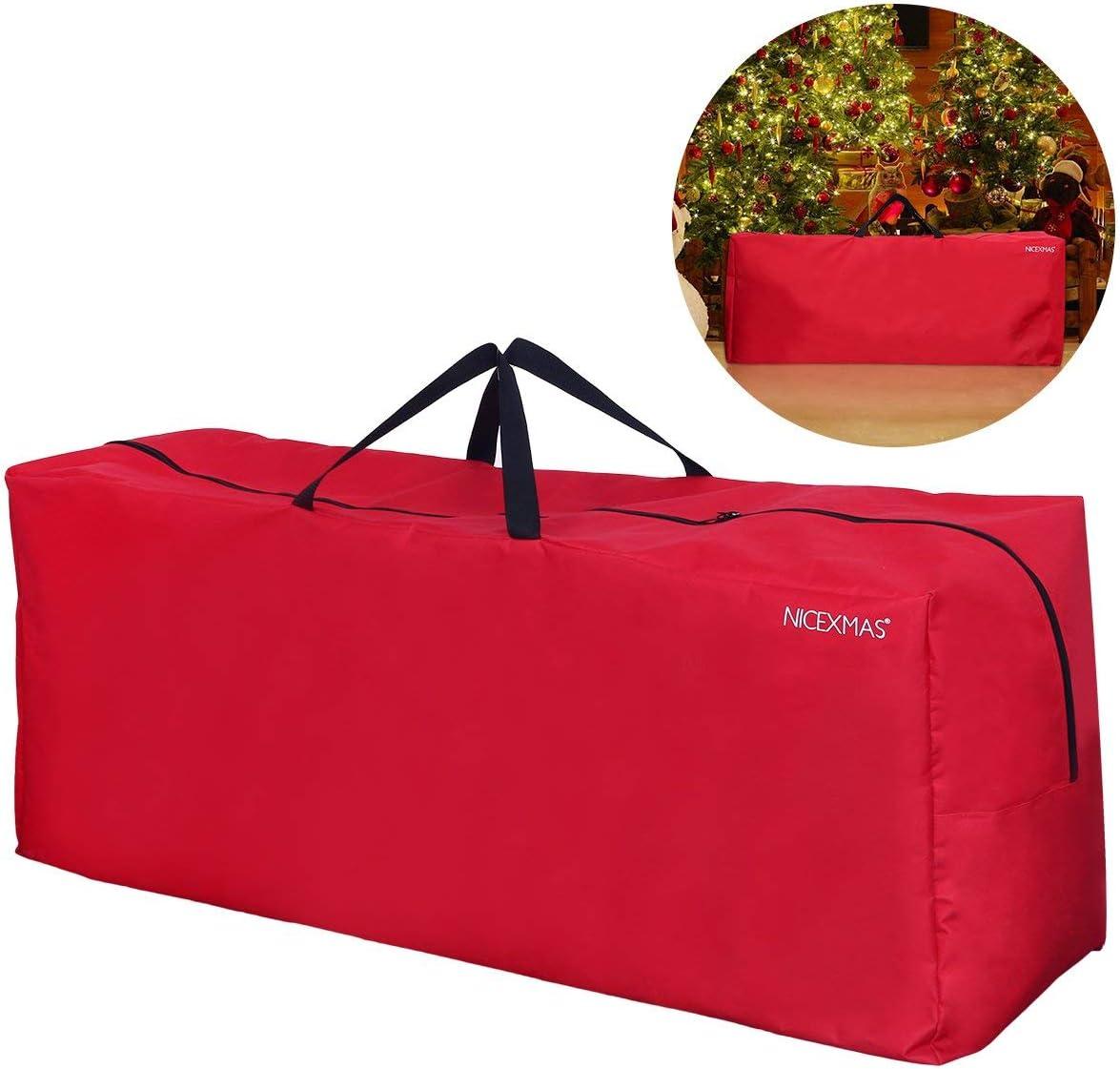 NICEXMAS Christmas Tree Storage Bag for Artificial Tree Christmas Decoration with Handles (Red) (135cm x 38cm x 54cm)