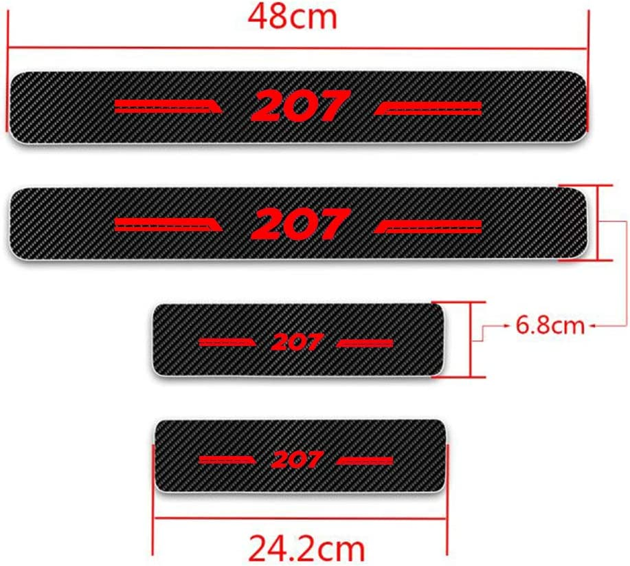For 207 Door Sill Protector Anti-scratch Self-adhesive Car Kick Plates Carbon Fiber Trim Protection Film White 4Pcs