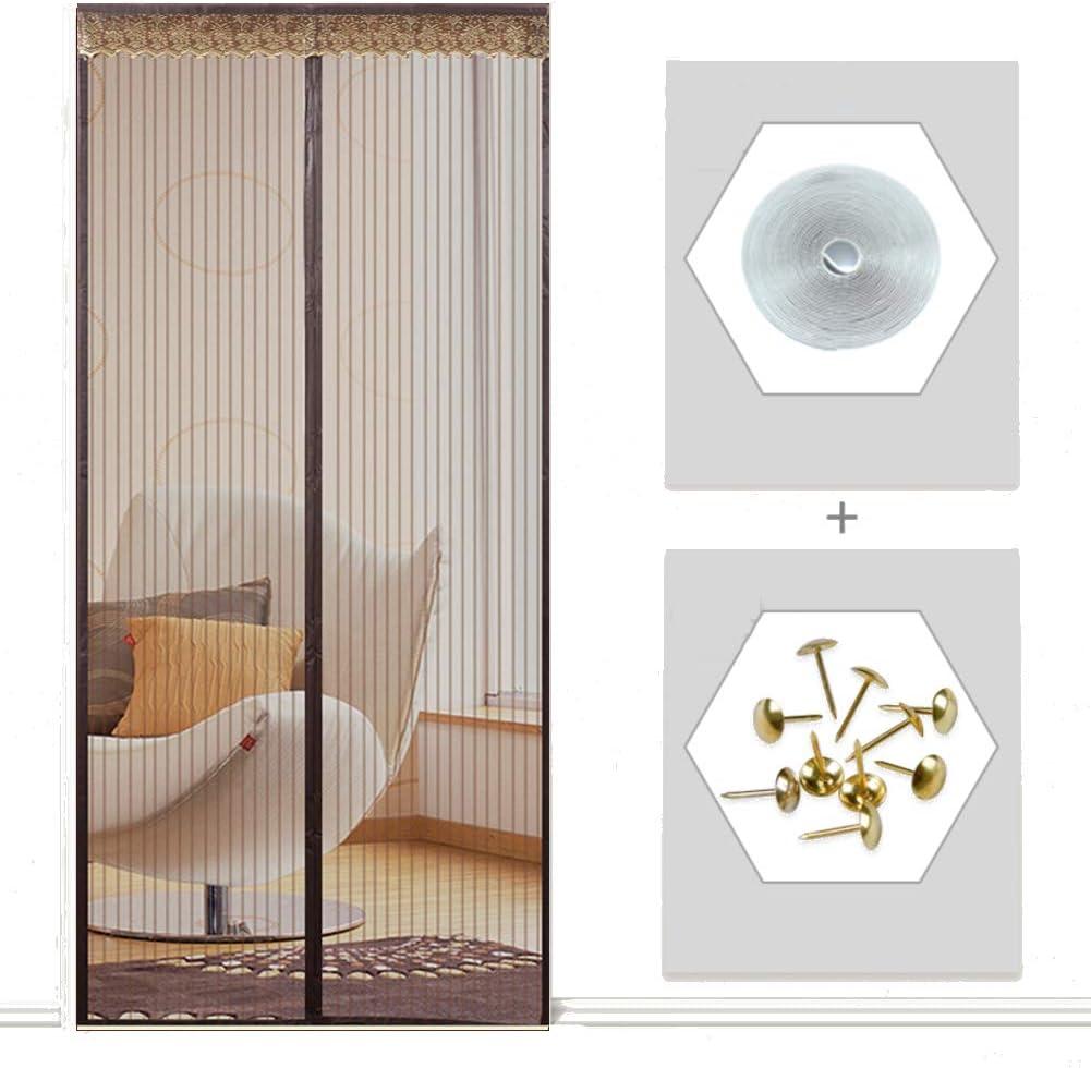 KKLTDI Cierra al instante Mosquitera magnética para, Fibra de vidrio Cortina de malla Verano Mascota amigable Desmontable Para Puerta francés-marrón 120x240cm(47x94
