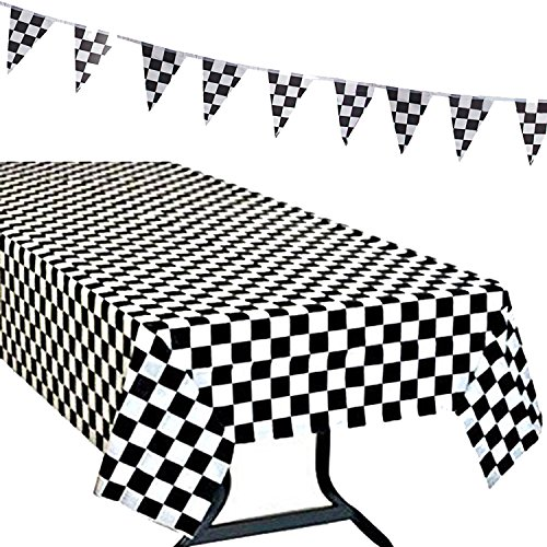 R ? HORSE 3Pack Plastic Banquet Disposable Black & White Checkered Tablecover Party Favor, 2 Checkered Racing Tablecloth + 1 Checkered Racing Flag