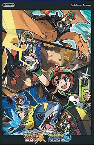 "POKEMON SUN AND MOON 11""x17"" D/S Original Video Game Poster Gamestop Embossed"