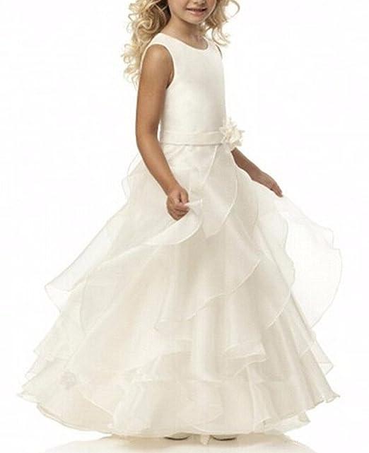 VIPbridal Vestidos de primera comunión para las muchachas Vestido largo de la muchacha de flor para las bodas: Amazon.es: Ropa y accesorios