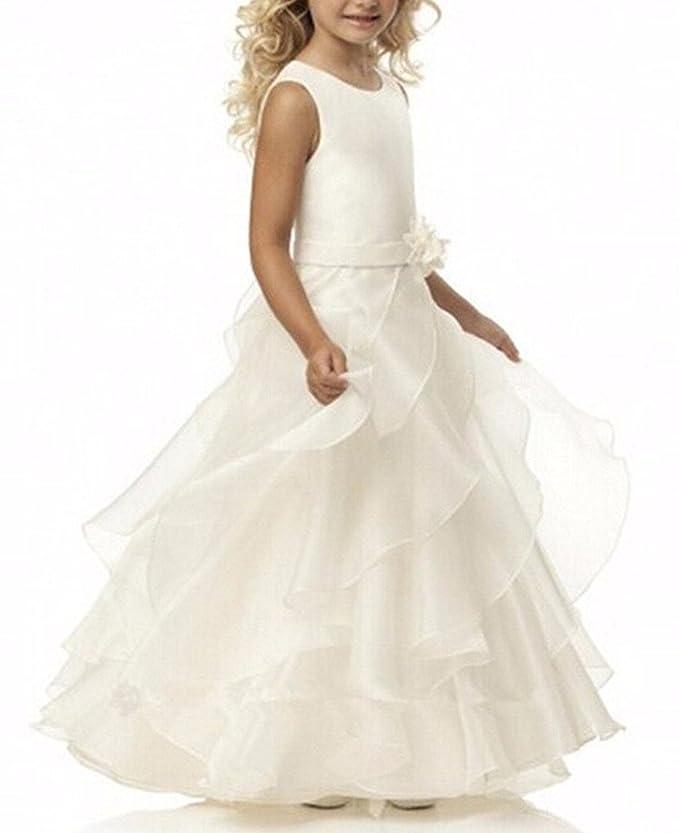 VIPbridal Vestidos de Primera comunión para Las Muchachas Vestido Largo de la Muchacha de Flor para Las Bodas