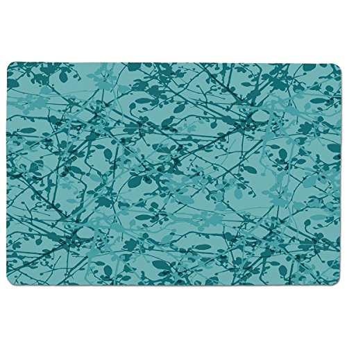 iPrint Pet Mat for Food and Water,Teal,Ink Drawing Inspired Intertwined Tree Branches Buds and Leaves in Abstract Design Decorative,Teal Turquoise,Rectangle Non-Slip Rubber Mat for Dogs and Cats -  HongKong Fudan Investment Co., Limited, CWD_10682_K60xG40