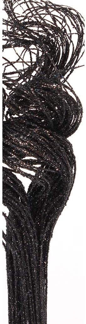 Green Floral Crafts - 2 Ft Glitter Sparkle Black Curly Ting