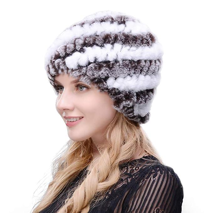 9c6b4dc4caa JERYAFUR Rex Rabbit Hair Winter Woman hat Natural Fur Multiple Colors (B+C)