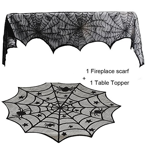 Guwheat Halloween Decoration Spiderweb,1pc Fireplace Mantle Scarf Cover + 1pc Lace Table Topper Festive Party Supplies for Halloween/Christmas/Spooky Meals