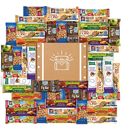 Snack Chest Healthy Bars & Nuts Care Package Variety Pack Bulk Sampler Includes Kashi, Fiber One, Quaker, Fig Bars, Nature Valley, Planters & More (60 Count)