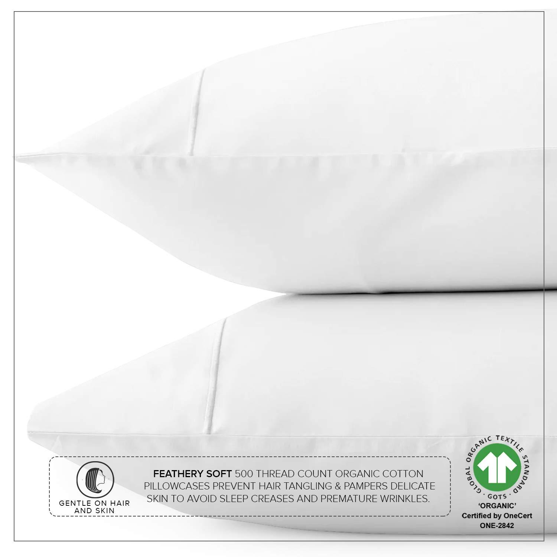 Organic Cotton 500TC White Queen Pillow Cases