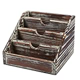 Wooden Mail Organizer – 4 Compartments Small Rustic Wood Desk Storage Organizer Caddy, Vertical Letter Mail Sorter, Natural Wood, 6.68 x 5 x 6.6 inches